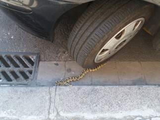 Imagen de la pitón debajo de un coche en Barcelona