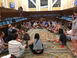 Sentada de estudiantes en el Ministerio de Cultura.