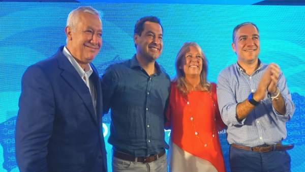 Javier Arenas, Juanma Moreno, Ángeles Muñoz y Elías Bendodo