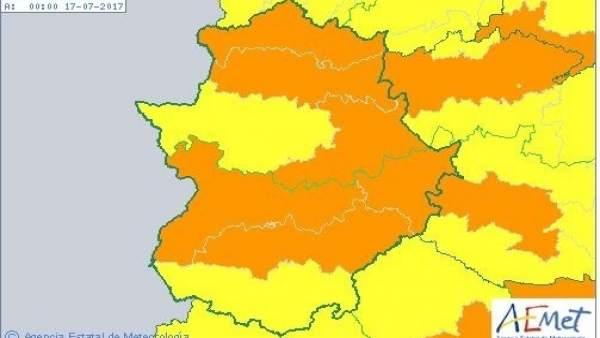 Avisos por calor en Extremadura