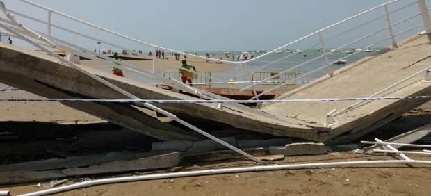 Cae parte del pantalán de Bajo de Guía de Sanlúcar de Barrameda (Cádiz)