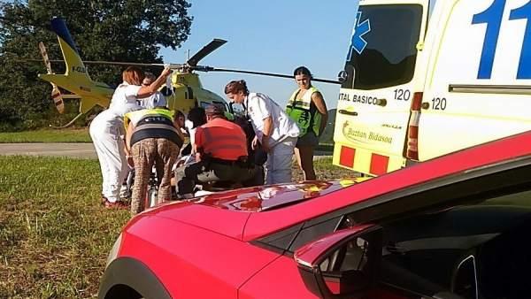 Accidente de motorista en Valcarlos (Navarra)