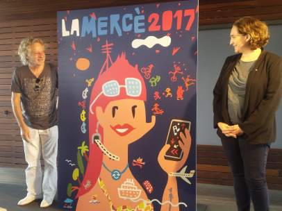 Cartel de la Mercè de 2017 con J.Collboni, J. Mariscal y Ada Colau