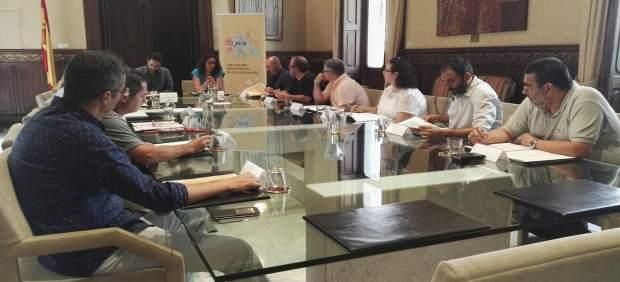 Cladera con representantes CCOO y UGT