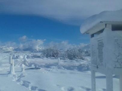 Paisaje nevado en la ciudad argentina de Bariloche