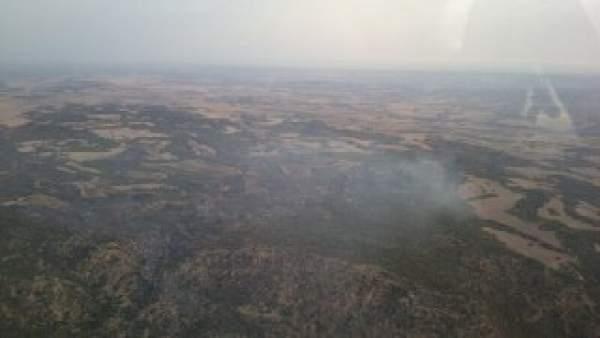 Incendio forestal en Samper de Calanda