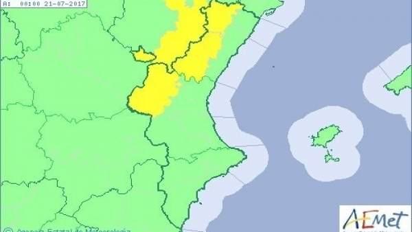 L'interior de València i Castelló estan en avís groc per pluges