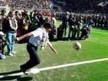 Evo Morales, saque de honor, fútbol
