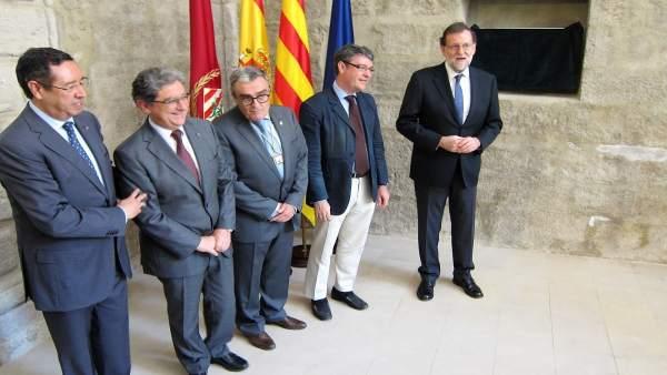 El delegado E.Millo, el alcalde A.Ros, el ministro A.Nadal y el pte.M.Rajoy