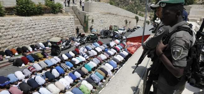 Protesta frente a la Ciudad Vieja de Jerusalén