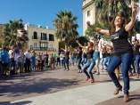 Un instante del desarrollo del Flash mob.