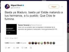 """Miguel Bosé, a Maduro: """"Que Dios te fulmine"""""""