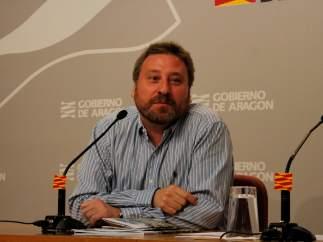 José Luis Soro, en rueda de prensa en el Gobierno de Aragón