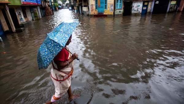 India, Calcuta, lluvia, monzón