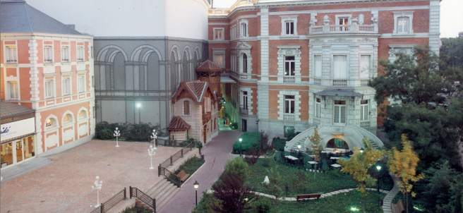 Jardín y terraza de la Casa de América y fachada interior (1992)