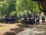 Lugar donde ha aparecido el cuerpo calcinado de una mujer en el Parque Amate