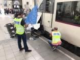 Tren accidentado en la estación de França de Barcelona
