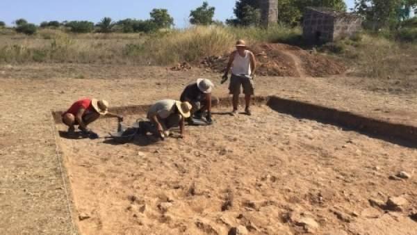 Detalle de la excavación abierta en Pollentia