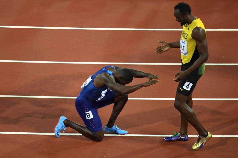 Gatlin reverencia a Bolt