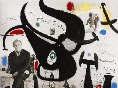 Fotografía de Planas Montanya dedicada por Miró