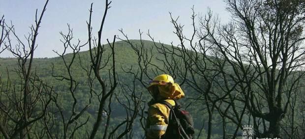 Imagen de un bombero forestal en Navarredonda