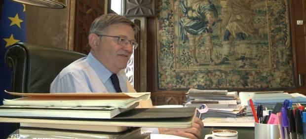 Ximo Puig, en su despacho del Palau de la Generalitat, durante la entrevista