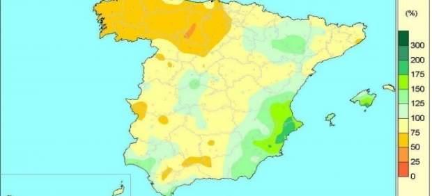 Distribución de lluvias en España de octubre de 2016 al 8 de agosto de 2017