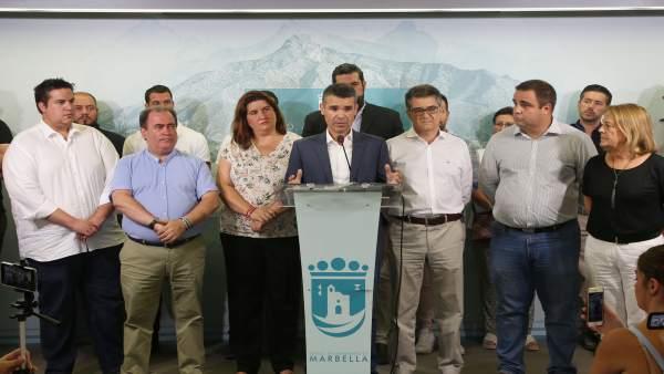 José bernal comparece rueda de prensa todo su equipo de gobierno PSOE marbella