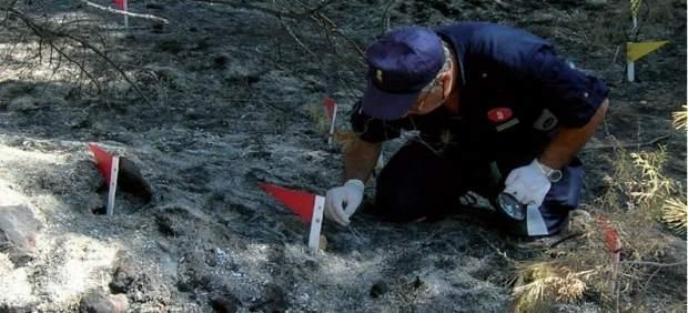 Un agente medioambiental en la zona afectada por un fuego