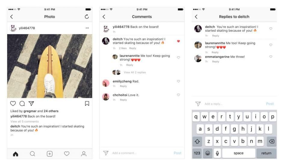 Imagen de los nuevos hilos de publicaciones de Instagram.