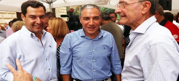 Juanma Moreno, Elías Bendodo y alcalde de Ma´laga PP-A feria 2017