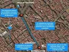 El recorrido del vehículo en el atentado de Barcelona