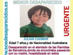 El niño australiano 'desaparecido' en el atentado de Barcelona está en un hospital