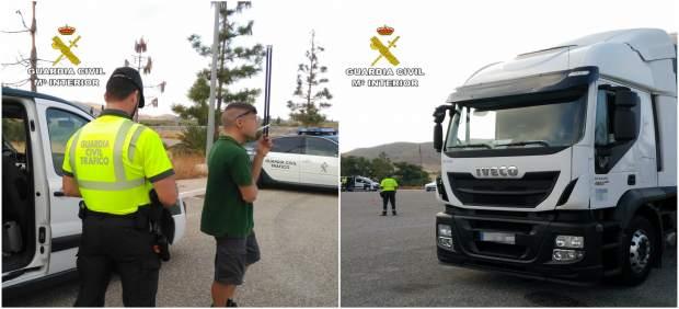 Imagen del conductor interceptado y del camión que conducía
