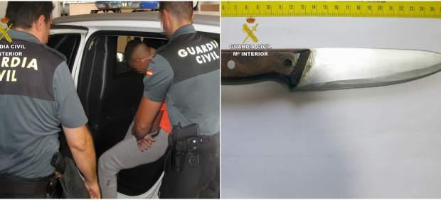 Imagen del agresor y del cuchillo empleado en el ataque