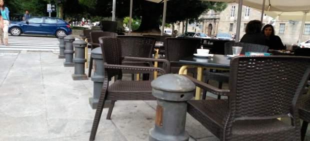 Instalación de bolardos en Porta Faxeira tras los atentados de Barcelona