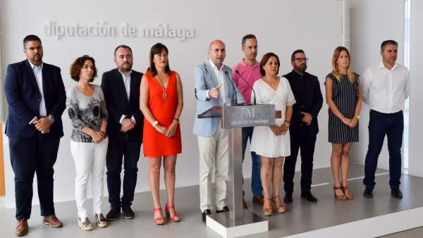 Conejo con su grupo en la diputación balance mandato PSOE málaga