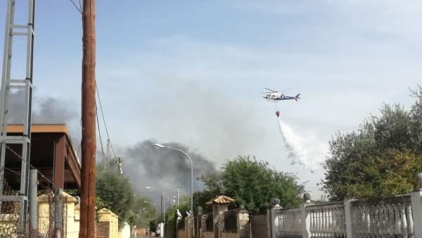 Fuego en las zonas de ribera del Guadalquivir a su paso por Córdoba