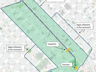 Perímetro sin tráfico en la marcha de Barcelona