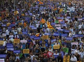 'La paz', pancarta masiva