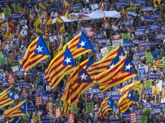 Esteladas en la manifestación contra el terrorismo