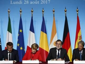 De izquierda a derecha, Macron, Merkel, Rajoy y Gentiloni, en el G-4.