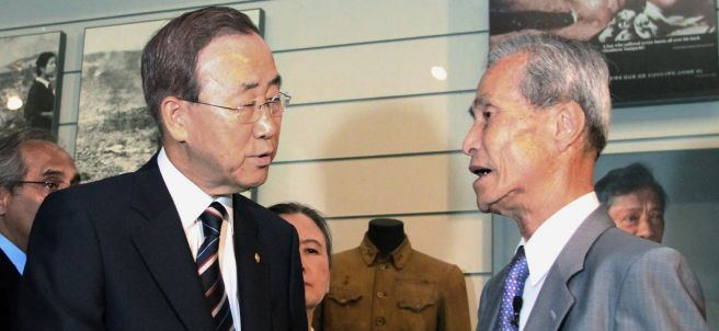 Sumiteru Taniguchi y Ban Ki-moon