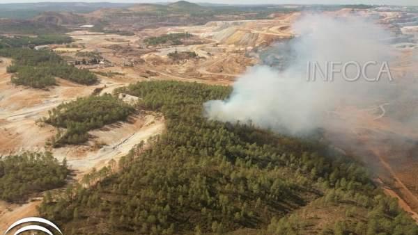 Incendio declarado y ya estabilizado en Nerva (Huelva)