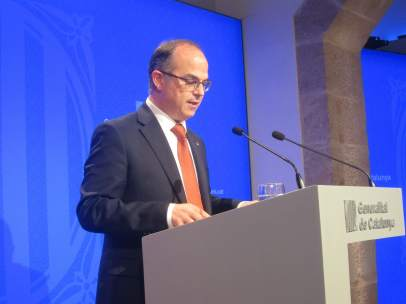 El conseller Jordi Turull, en rueda de prensa