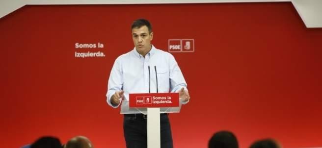 El secretario general del PSOE, Pedro Sánchez, en Ferraz.