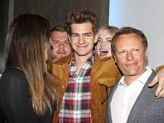 Emma Stone, James Corden y Andrew Garfield