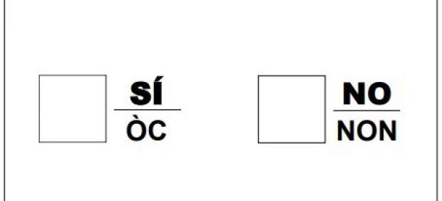 Papeleta referéndum 1-O publicada  en el DOGC.