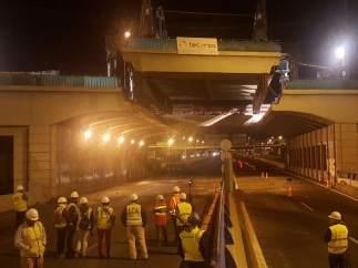 Obras en el puente de la avenida del Mediterráneo