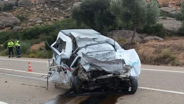 Accidente con una víctima mortal en la N-211, cerca de Alcañiz